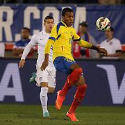 Luis Canga, Ecuador, in action during the USA Vs Ecuador International match at Rentschler Field, Hartford, Connecticut. USA. 10th October 2014. Photo Tim Clayton