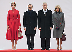 November 19, 2018 - Brussels, Belgium - Queen Mathilde of Belgium, President of France Emmanuel Macron, King Philippe - Filip of Belgium and First Lady of France Brigitte Macron stand during the official welcome ceremony at the Paleizenplein/ Place des Palais in Brussels on the first day of the state visit of the French Presient to Belgium. (Credit Image: © Benoit Doppagne/Belga via ZUMA Press)
