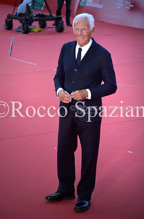 Giorgio Armani  walk the red carpet ahead of the 'La Grande Guerra' screening during the 13th Rome Film Fest at Auditorium Parco Della Musica on October 26, 2018 in Rome, Italy.