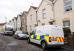 © Licensed to London News Pictures; 14/09/2021; Bristol, UK. Police are seen in Wood Street in Easton as part of an investigation after the bodies of two men were found on Sunday 12 September. Three men, aged 21, 37 and 45, and an 18-year-old woman  were arrested on suspicion of murder, but the 18-year-old woman and a 37-year-old man have been released without charge and are said to be helping police with their enquries. Photo credit: Simon Chapman/LNP.