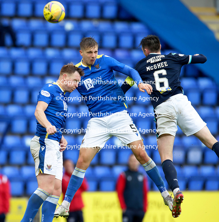 St Johnstone v Dundee…02.10.21  McDiarmid Park.    SPFL<br />Lars Dendoncker challenges Jordan McGhee<br />Picture by Graeme Hart.<br />Copyright Perthshire Picture Agency<br />Tel: 01738 623350  Mobile: 07990 594431