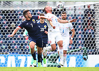 UEFA Euro 2020 Championship Group D match between Scotland v Czech Republic Hampden Park on June 14, 2021 in Glasgow, Scotland<br /> <br /> John MCGinn and Tomas Soucek battle for the ball - with Kevin Nisbet (19, Scotland) and Ondres Celustka in the background<br /> <br /> Credit: COLORSPORT/Ian MacNicol