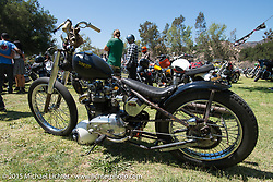 Parking for ride-in bikes on Day one of the Born Free Vintage Chopper and Classic Motorcycle Show at the Oak Canyon Ranch in Silverado, CA. USA. Saturday, June 28, 2014.  Photography ©2014 Michael Lichter.