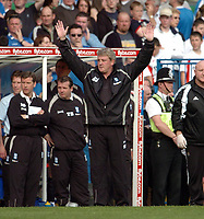 Photo: Leigh Quinnell.<br /> Birmingham City v Newcastle United. The Barclays Premiership. 29/04/2006. Birmingham manager Steve Bruce puts his hands up.