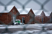 Snow falling at Napier Barracks, on the 7th of February 2021, Folkestone Kent. Men are locked up in accommodation inside Napier Barracks due to COVID-19 restrictions, Over 100 asylum seekers are being kept at Napier Barracks in unsuitable, cold accommodation, they are experiencing mental health issues as well as being vulnerable to health conditions including COVID-19. 3 people living inside the barracks have attempted suicide in 2021 already. <br /> (photo by Andrew Aitchison / In pictures via Getty Images)