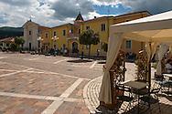 Village square. The Central Apennines rewilding area, Italy, in and around the Abruzzo, Lazio e Molise National Park.