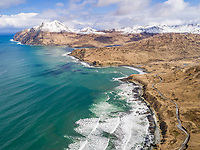 Aerial view of turquoise bay in Dutch Harbor, Alaska, USA.