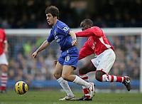 Photo: Lee Earle.<br /> Chelsea v Charlton Athletic. The Barclays Premiership. 22/01/2006. Charlton's Chris Powell (R) tracks Joe Cole.