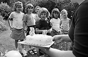As her mother carries out a specially-baked cake with candles to blow, a young girl celebrates her fifth birthday with close friends in her back garden at home. The girls are gathered in the south London house where summer grass and shrubs are in the background. The number 5 has been placed on the icing but only 3 candles have been lit, perhaps extinguished as the cake reaches the outdoors.