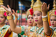 """29 SEPTEMBER 2012 - NAKORN NAYOK, THAILAND:  Thai dancers pray during observances of Ganesh Ustav at Wat Utthayan Ganesh, a temple dedicated to Ganesh in Nakorn Nayok, about three hours from Bangkok. Many Thai Buddhists incorporate Hindu elements, including worship of Ganesh into their spiritual life. Ganesha Chaturthi also known as Vinayaka Chaturthi, is the Hindu festival celebrated on the day of the re-birth of Lord Ganesha, the son of Shiva and Parvati. The festival, also known as Ganeshotsav (""""festival of Ganesha"""") is observed in the Hindu calendar month of Bhaadrapada, starting on the the fourth day of the waxing moon. The festival lasts for 10 days, ending on the fourteenth day of the waxing moon. Outside India, it is celebrated widely in Nepal and by Hindus in the United States, Canada, Mauritius, Singapore, Thailand, Cambodia, Burma , Fiji and Trinidad & Tobago.     PHOTO BY JACK KURTZ"""
