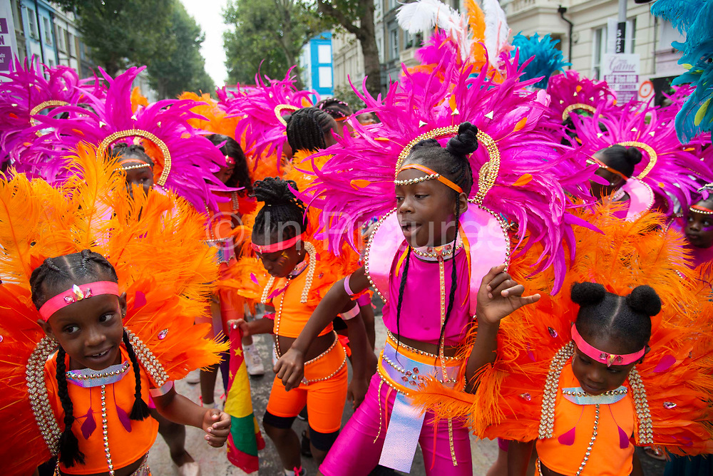 Young Performers on Childrens Day at  Notting Hill carnival on 25th August, 2019 in London, United Kingdom. One million people are expected on the streets in scorching temperatures for the Notting Hill Carnival, Europes largest street party and a celebration of Caribbean traditions.