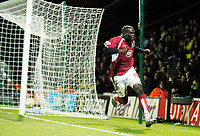 Photo: Leigh Quinnell/Sportsbeat Images.<br /> Watford v Bristol City. Coca Cola Championship. 01/12/2007. Bristol Citys Enoch Showunmi celebrates his goal.
