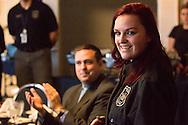Goshen, New York - New York State Vanguard award winner and law enforecment student  Jennifer Francois Minisink Valley High School speaks during the Orange-Ulster BOCES CTE (Career and Technical Education) media day on Feb. 18. 2016.