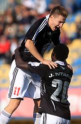 Rok Elsner (11) of Interblock celebrates a goal of Theophile Ntame at 12th Round of PrvaLiga Telekom Slovenije between NK Luka Koper vs NK Interblock, on October 4, 2008, in SRC Bonifika in Koper, Slovenia. Interblock won the match 4:1. (Photo by Vid Ponikvar / Sportal Images)