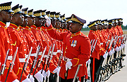 Soldiers of the Jamaica Defence Force are made ready for inspection.