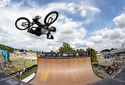 © Licensed to London News Pictures.  09/07/2017; Bath & West Showground, Somerset, UK. NASS, National Action Sports Show festival. The finals of the 'Vert' Competition, which was won by Vince Byron. The world's leading BMX and skate athletes will compete in the West Country this weekend as the IBMXFF World Championships and Europe's leading skate contest return to NASS Festival. The annual action sport and music festival, which takes place on the 6th – 9th July near Bristol will host the BMX World Championships for the second year running, after the games returned to the UK for the first time in 28 years last year. The event will be one of the largest global BMX freestyle and skate events of the year with more than 450 professional and amateur athletes from over 40 countries heading to the festival. Earlier this month it was announced that BMX Freestyle has been added to the programme of the Tokyo 2020 Olympic Games highlighting the growth and incredible standard of this sport. Olympics hopefuls and reigning BMX Champions Logan Martin, Vince Byron and Nick Bruce will all return to defend their titles across Pro Park, Vert and Dirt. The competition will be hosted by BMX's greatest legend, Mat Hoffman. Picture credit : Simon Chapman/LNP