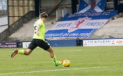 Hibernian's Jason Cummings scoring their goall. Raith Rovers 1 v 1 Hibernian, Scottish Championship game played 18/2/2017 at Starks Park.