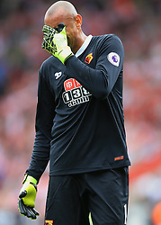 13 August 2016 - Premier League - Southampton v Watford - Watford goalkeeper Heurelho Gomes react after appearing to pull his hamstring - Photo: Marc Atkins / Offside.