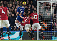 Football - 2017 / 2018 Premier League - Chelsea vs Manchester United<br /> <br /> Andreas Christensen (Chelsea FC)  gets a hand in the back from \m12 and Ander Herrera (Manchester United) as he heads for goal at Stamford Bridge <br /> <br /> COLORSPORT/DANIEL BEARHAM