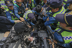 May 5, 2018 - Paju, South Korea-Peace activist and North Korean defector scuffle between press conference about 'Opposite South Korea unification policy' at near Odusan OP in Paju, South Korea. (Credit Image: © Ryu Seung-Il via ZUMA Wire)