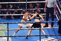 Boxing - warm up bout_Katie Taylor v Sanchez (WBA lightweight) <br /> <br /> Katie Taylor lands punches on her opponent, whom she defeated to retain the title., at the Principality Stadium, Cardiff.<br /> <br /> COLORSPORT/WINSTON BYNORTH