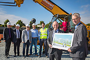 NO FEE PICTURES<br />13/7/18 Irish Life has formally broken ground on its new Customer Centre in Dundalk, Co Louth. The building has been designed by leading Dublin based architects, wejchert Architects and is being delivered by main contractor Stewart Construction. The new site area is 1.6 hectares with an office size of 45,000 sq ft. It is expected that over 200 construction workers will be on site during the construction phase of the project, which will be a significant boost to local employment in the Dundalk Area. Pictured are : Se Weston, Excutive Manager, Dundalk Office, Sean Rooney, developer, Fergus Dowd, Irish Life, Greg Ward, Irish Life, Paul Stewart, MD Stewart Construction, Dundalk Office, David Harney, CEO Irish Life, Aine Cassidy, Excutive Manager and Denis McLoughlin, Irish Life, Greg and . Picture :Arthur Carron