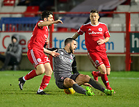 Lincoln City's Joan Luque is fouled by Accrington Stanley's Piero Mingoia, left, and Accrington Stanley's Scott Brown<br /> <br /> Photographer Andrew Vaughan/CameraSport<br /> <br /> The EFL Checkatrade Trophy Second Round - Accrington Stanley v Lincoln City - Crown Ground - Accrington<br />  <br /> World Copyright © 2018 CameraSport. All rights reserved. 43 Linden Ave. Countesthorpe. Leicester. England. LE8 5PG - Tel: +44 (0) 116 277 4147 - admin@camerasport.com - www.camerasport.com