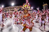 Dancers in the Carnaval parade of GRES Unidos do Viradouro samba school in the Sambadrome, Rio de Janeiro, Brazil.