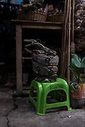 Una boa disecada se vende como souvenir en el mercado de Belén en Iquitos. en este mercado se venden todo tipo de animales exóticos, alimentos y brebajes hechos con ellos.