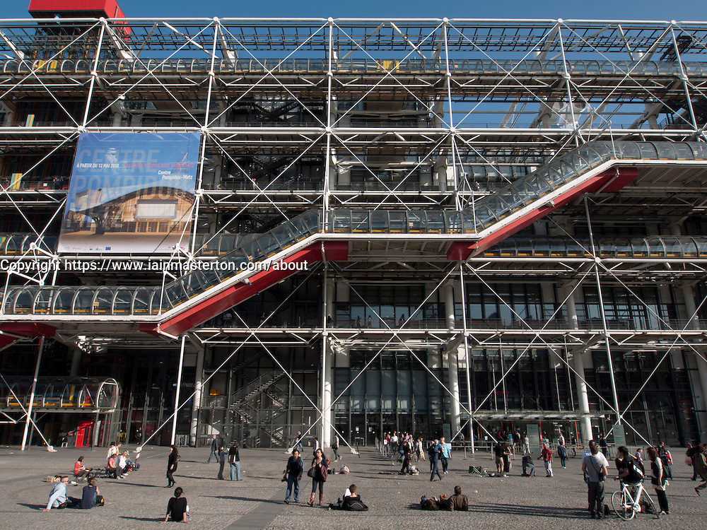 View of the Pompidou center  modern  art museum in Paris france