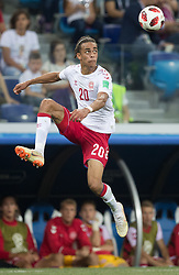 July 1, 2018 - Nizhny Novgorod, Russia - Yussuf Yurary Poulsen of Denmark during the 2018 FIFA World Cup Russia Round of 16 match between Croatia and Denmark at Nizhny Novgorod Stadium on July 1, 2018 in Nizhny Novgorod, Russia. (Credit Image: © Foto Olimpik/NurPhoto via ZUMA Press)