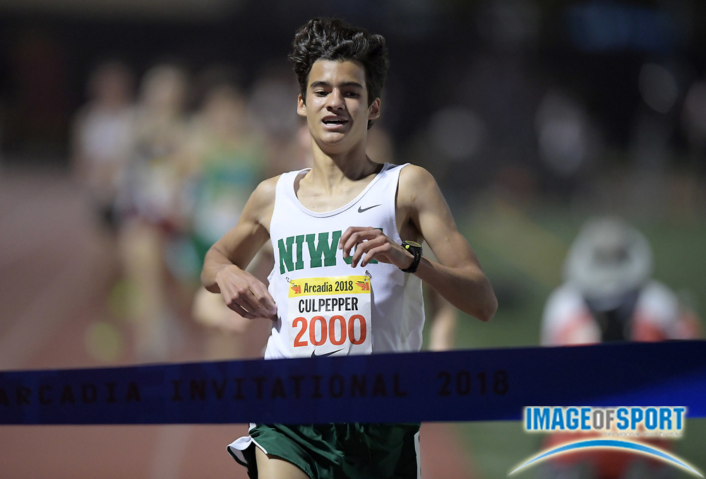 Apr 7, 2018; Arcadia, CA, USA; Cruz Culpepper (2000) of Niwot (CO) wins the invitational mile in 4:13.14 during the 51st Arcadia Invitational at Arcadia High.