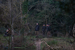 Denham, UK. 5 February, 2020. Environmental activists monitor works for the HS2 high-speed rail link at Denham Ford. Imminent works in the vicinity are expected to include the felling of mature trees and the construction of a Bailey bridge and compound in a nature reserve forming part of a Site of Metropolitan Importance for Nature Conservation (SMI).