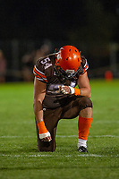 KELOWNA, BC - AUGUST 17:  Cory MCCOY #54 of Okanagan Sun kneels on the field against the Westshore Rebels  at the Apple Bowl on August 17, 2019 in Kelowna, Canada. (Photo by Marissa Baecker/Shoot the Breeze)