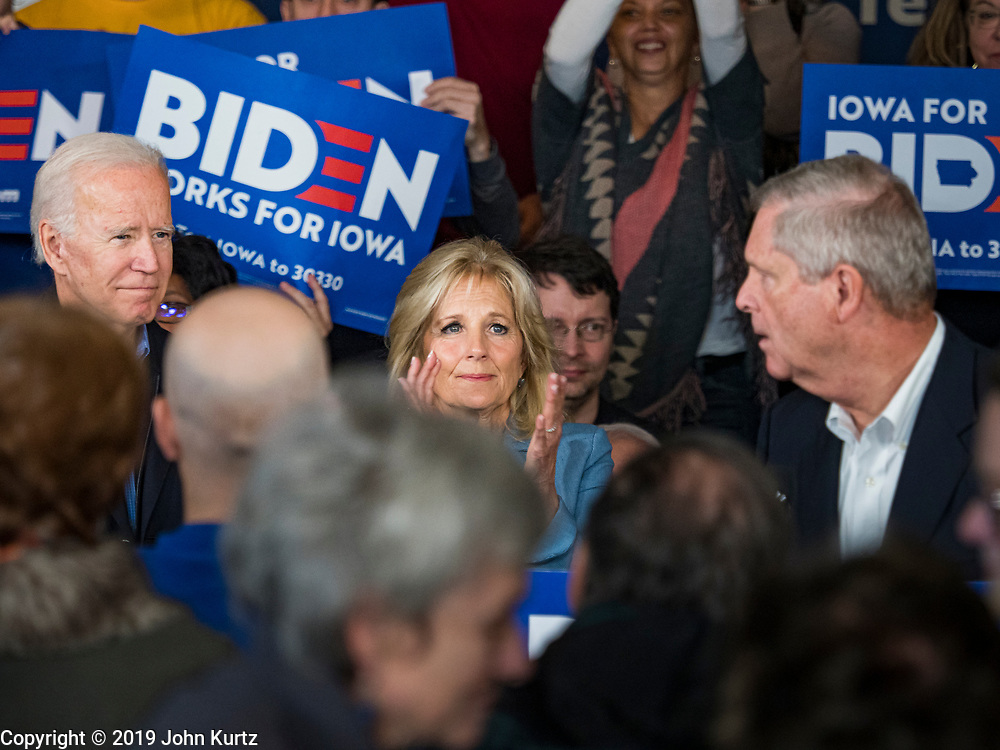 23 NOVEMBER 2019 - DES MOINES, IOWA: Former Vice President JOE BIDEN and his wife, JILL BIDEN, in the middle of an applauding crowd at a campaign event in Des Moines. Vice President Biden announced that Tom Vilsack, the former Democratic governor of Iowa, endorsed him. Biden and Vilsack appeared with their wives at an event in Des Moines. Iowa hosts the first presidential selection event of the 2020 election cycle. The Iowa caucuses are on February 3, 2020.             PHOTO BY JACK KURTZ