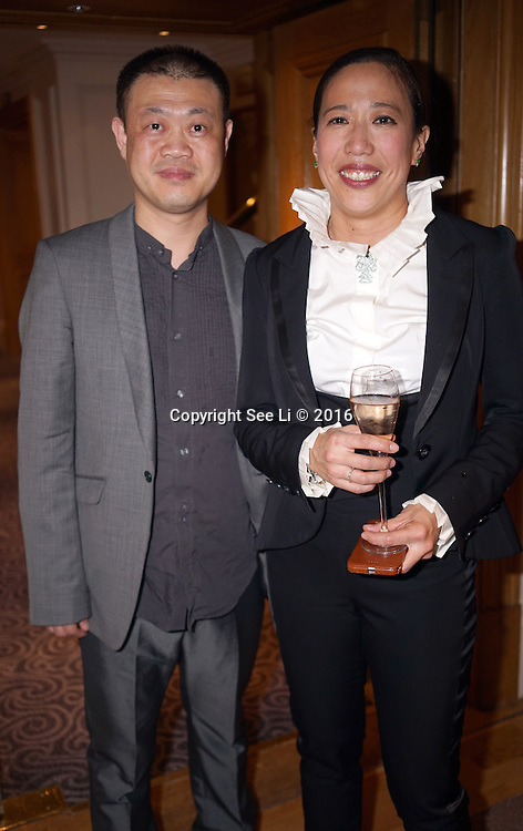 London,England,UK : 6th May 2016 : Dr. Bernice Pan and her dress cutter attend the DePLOY demi-couture latest Spring-Summer Brides Catwalk Show & Style Event at Strand, London. Photo by See Li