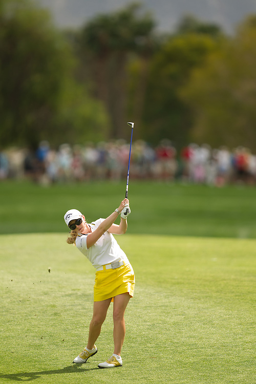 RANCHO MIRAGE, CA - APRIL 2: Morgan Pressel plays a shot during the third round of the 2011 Kraft Nabisco Championship at Mission Hills Country Club in Rancho Mirage, California on April 2, 2011. (Photograph ©2011 Darren Carroll) *** Local Caption *** Morgan Pressel