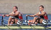 2000 Sydney Olympic Game, Olympic Regatta, Penrith Lakes, Penrith, NSW. AUSTRALIA:   NOR M2X Silver medallist, stroke [leftt] BEKKEN, Fredrik and  TUFTE, Olaf. Peter Spurrier. .email images@intersport-images.... 2000 Olympic Regatta Sydney International Regatta Centre (SIRC) 2000 Olympic Rowing Regatta00085138.tif