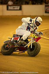 Minibike racing at the Born-Free 10 Stampede flat track races in the City of Industry where classes ranged from Pull Start minis, Tank Shift, Vintage Singles & Open Twins, XR 75, ladies, Hooligans and more. Thursday night before the big chopper show June 21, 2018. Photography ©2018 Michael Lichter.