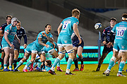 Warriors scrum-half Francois Hougaardthrows out a pass during the Gallagher Premiership match Sale Sharks -V- Worcester Warriors at The AJ Bell Stadium, Greater Manchester,England United Kingdom, Friday, January 08, 2021. (Steve Flynn/Image of Sport)