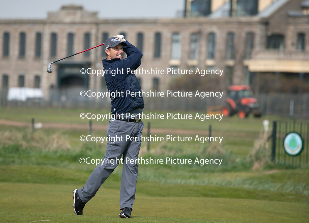 Padraig Harrington Returns to Carnoustie…09.05.18<br />Golfer Padraig Harrington returned to Carnoustie to play the four play off holes that saw him win The Open in 2007.<br />Picture by Graeme Hart.<br />Copyright Perthshire Picture Agency<br />Tel: 01738 623350  Mobile: 07990 594431