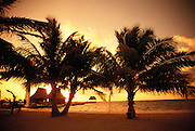 Sunset on the beach on  Ambergris Cay, Belize.  Central America.