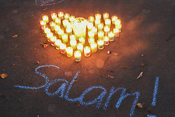 March 17, 2019 - Christchurch, Canterbury, New Zealand - A heart shaped candles seen to pay respect to the victims of the Christchurch mosques shooting. Around 50 people has been reportedly killed a terrorist attack onn two Christchurch mosques. (Credit Image: © Adam Bradley/SOPA Images via ZUMA Wire)