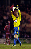 Photo: Jed Wee.<br /> Middlesbrough v Charlton Athletic. The FA Cup. 12/04/2006.<br /> <br /> Charlton goalkeeper Thomas Myhre applauds the Charlton fans at the end of the game.