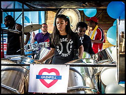 August 26, 2017 - London, London, United Kingdom - Image ©Licensed to i-Images Picture Agency. 26/08/2017. London, United Kingdom. Notting Hill Carnival - Steel Bands...Musicians warm up for the Notting Hill Panorama. National steel bands put on the annual competitive performance for revellers on the eve of the Carnival. The Panorama is  Steel Band competition...Picture by Pete Maclaine / i-Images (Credit Image: © Pete Maclaine/i-Images via ZUMA Press)