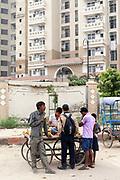 Vendors outside gated communities, Noida, New Delhi, India
