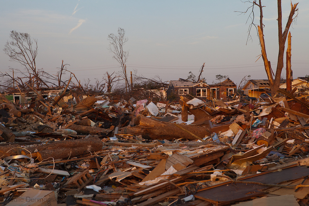 Parts of Tuscaloosa , in west central Alabama  remain in a state of ruin  two weeks after it was hit by an F-4 ( possibly an F-5) tornado, one of an estimated 300 that struck Alabama and the neighboring states on April 27th , 2011.