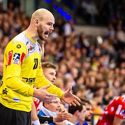 Mike Jensen (HBW Balingen-Weilstetten #20) beim Spiel in der Handball Bundesliga, TVB 1898 Stuttgart - HBW Balingen-Weilstetten.<br /> <br /> Foto © PIX-Sportfotos *** Foto ist honorarpflichtig! *** Auf Anfrage in hoeherer Qualitaet/Aufloesung. Belegexemplar erbeten. Veroeffentlichung ausschliesslich fuer journalistisch-publizistische Zwecke. For editorial use only.