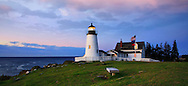 The Classic Pemaquid Point Lighthouse Holding Vigil In The Pre Dawn Light Of Another Beautiful New England Autumn Day, Bristol Maine, USA