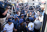 Oscar Pistorius arriving for the final verdict at North Gauteng High Court on September 12, 2014 in Pretoria, South Africa.<br /> <br /> Judge Thokosile Masipa has ruled out murder charges,  will announce today whether Oscar Pistorius is guilty of culpable homicide. Oscar said he mistook Ms Reeva Steenkamp for an intruder in his home when he fired several shots into his bathroom allegedly in self-defence but killing his girlfriend.<br /> ©Exclusivepix